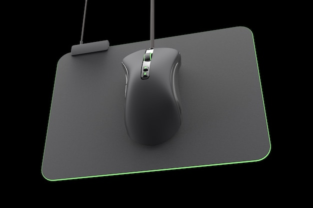 Mouse da gioco moderno su pad professionale su sfondo nero con tracciato di ritaglio