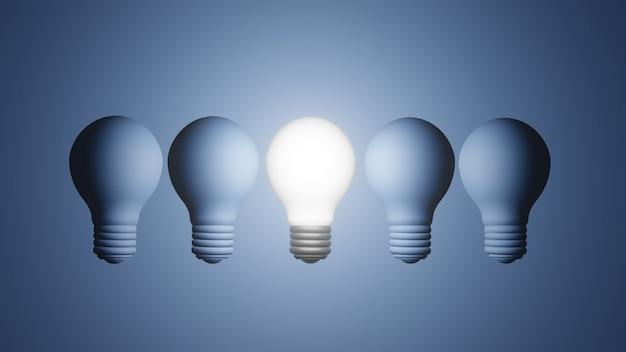 Le moderne lampadine a incandescenza e una è accesa