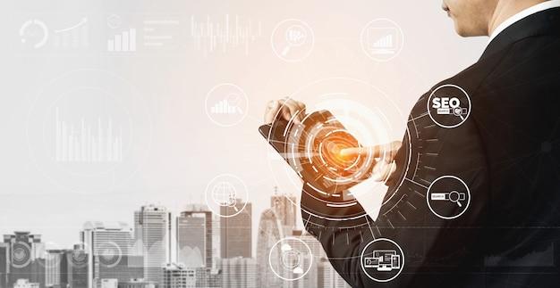 Interfaccia grafica moderna che mostra il simbolo della promozione del sito web di ricerca di parole chiave ottimizzando la ricerca dei clienti e analizzando la strategia di mercato.