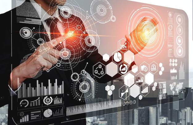 La moderna interfaccia grafica mostra enormi informazioni sul rapporto di vendita aziendale, grafico dei profitti e analisi delle tendenze del mercato azionario sul monitor dello schermo.