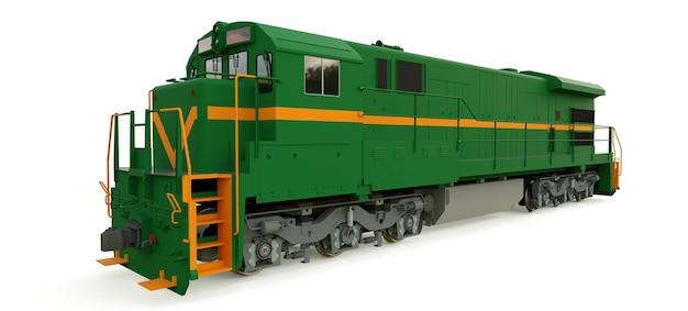 Moderna locomotiva ferroviaria diesel verde con grande potenza e resistenza per lo spostamento di treni ferroviari lunghi e pesanti