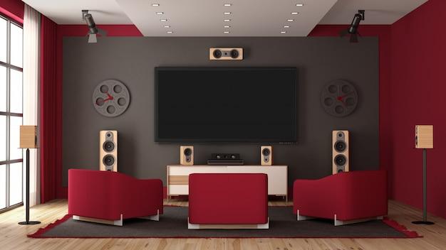 Moderno home cinema con tv a schermo piatto e apparecchiature audio
