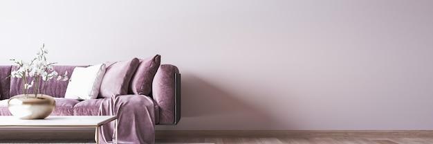 Modern home decor interior, panorama del soggiorno di lusso