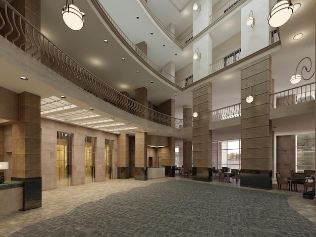 Interno moderno dell'ingresso dell'hotel. rendering 3d
