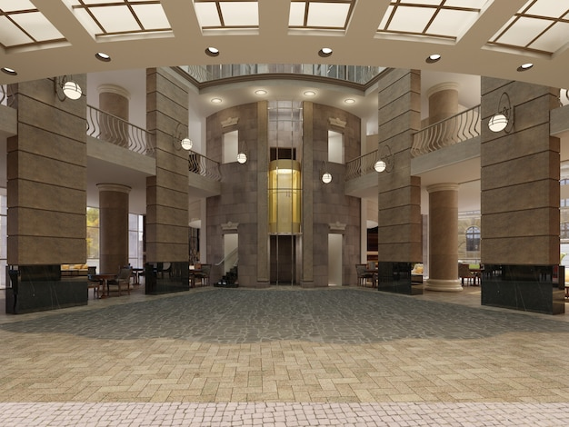 Ingresso moderno dell'hotel con spazio interno multilivello e balconi. l'interno della hall dell'hotel in stile classico. rendering 3d.