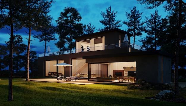 Casa moderna di design notturno nel bosco