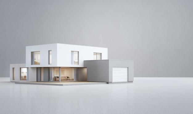 Casa moderna sul pavimento bianco con sfondo di muro di cemento vuoto.