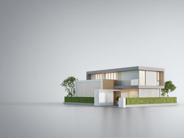 Casa moderna sul pavimento bianco con il fondo vuoto della parete nel concetto di investimento immobiliare
