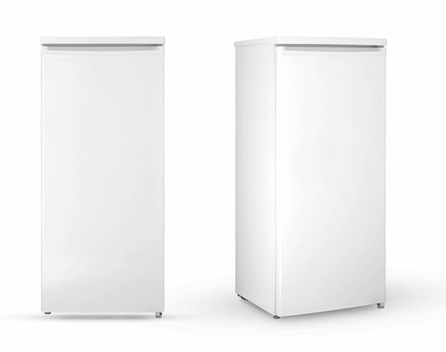 Frigorifero domestico moderno su sfondo bianco, due angoli e posizioni, isolate