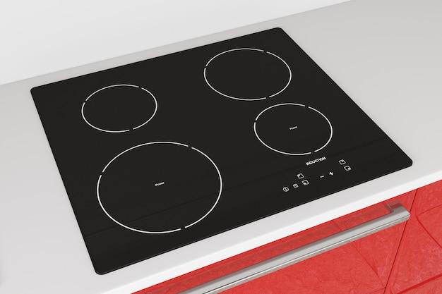 Stufa moderna del piano cottura a induzione con primo piano estremo di mobili da cucina rossi. rendering 3d