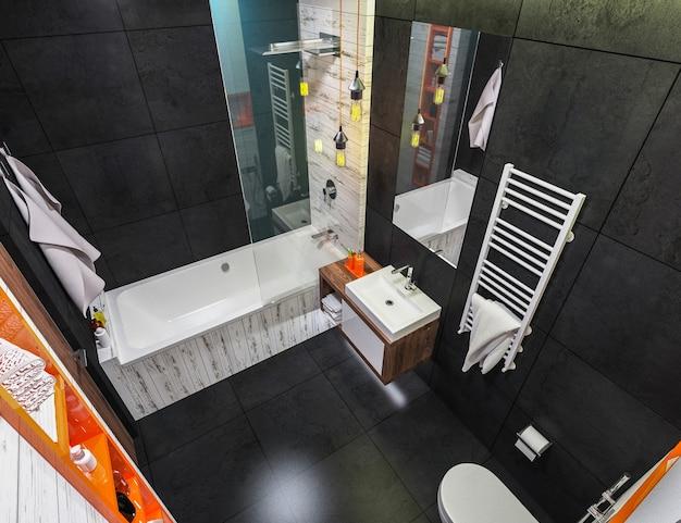 Interni moderni di un bagno in soppalco