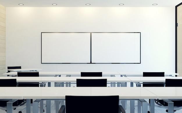 Interno moderno della sala conferenze d'affari con schermo monitor vuoto per la presentazione