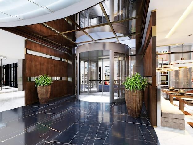 Interni moderni di un accogliente bar ristorante. design contemporaneo in stile trendy, sala da pranzo moderna e bancone bar. rendering 3d