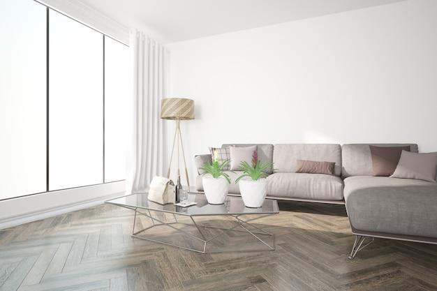 Illustrazione 3d di interior design moderno