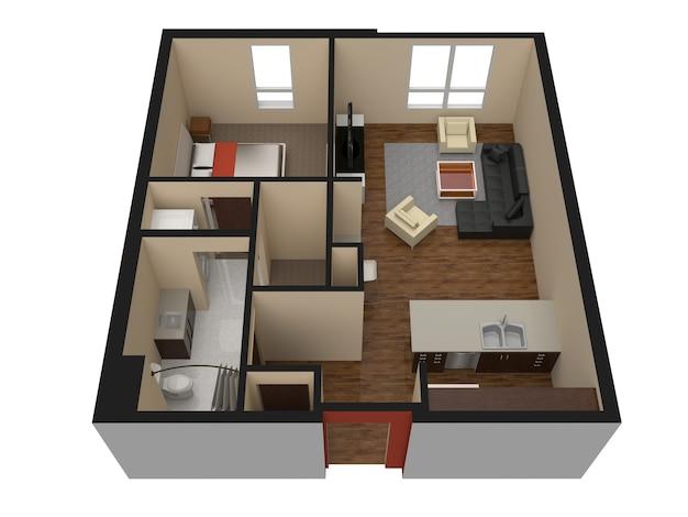 Design moderno degli interni dell'appartamento. bellissimo appartamento nuovo ed elegante dal design d'interni. illustrazione 3d.