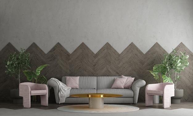 Interior design moderno e soggiorno e muro di cemento vuoto