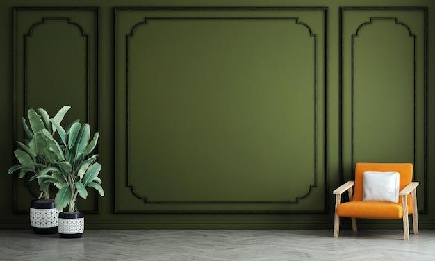 Interior design moderno di soggiorno e parete verde pattern di sfondo, rendering 3d