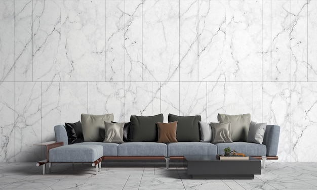 Interior design moderno e mock up della stanza del soggiorno e della struttura della parete in marmo bianco