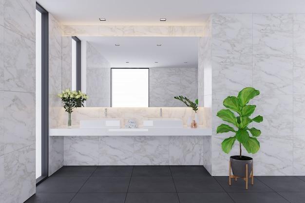 Interior design moderno, bagno bianco con lavandino in marmo. rendering 3d