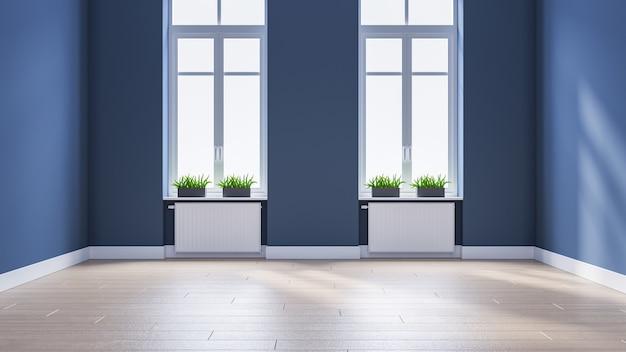 Stanza vuota interna moderna, stile scandinavo, pavimentazione di legno e parete blu, rappresentazione 3d