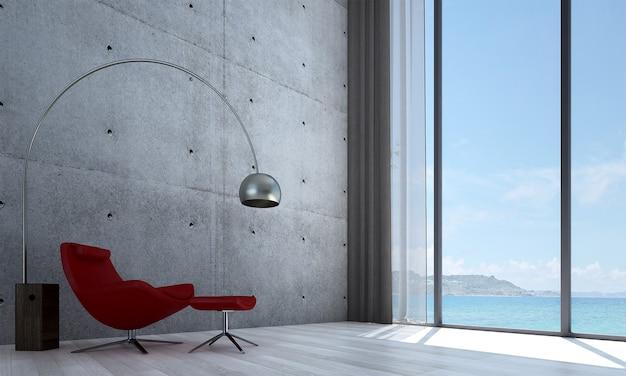 Design moderno del soggiorno interno e fondo di struttura del modello del muro di cemento e vista del mare