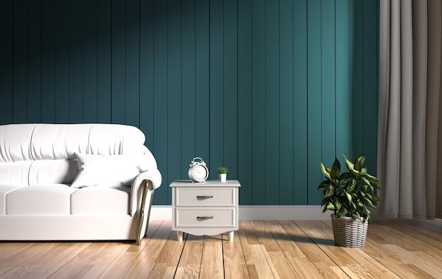 Interiore moderno - salone e sofà molle sul buio della parete, rappresentazione 3d