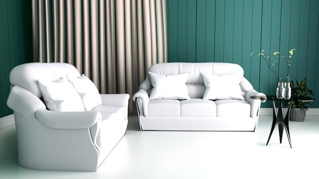 Interno moderno del salone e del sofà molle su buio della parete, rappresentazione 3d