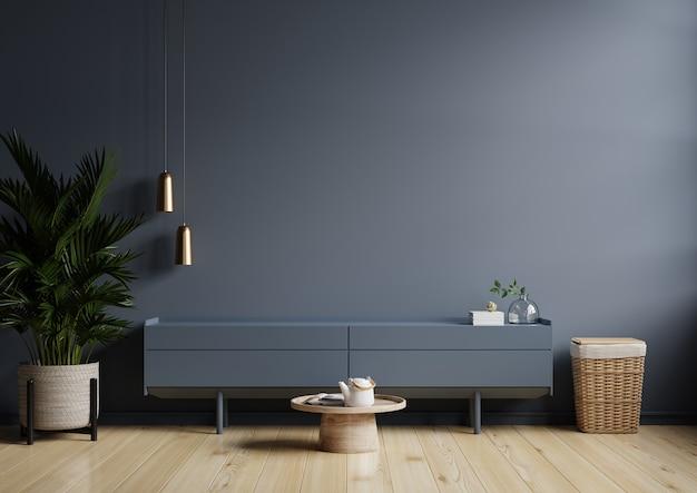 Interni moderni di soggiorno con mobile per tv su parete blu scuro, rendering 3d