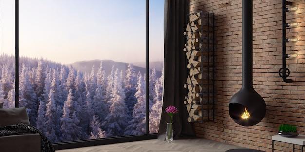 Interni moderni di un loft hotel in montagna