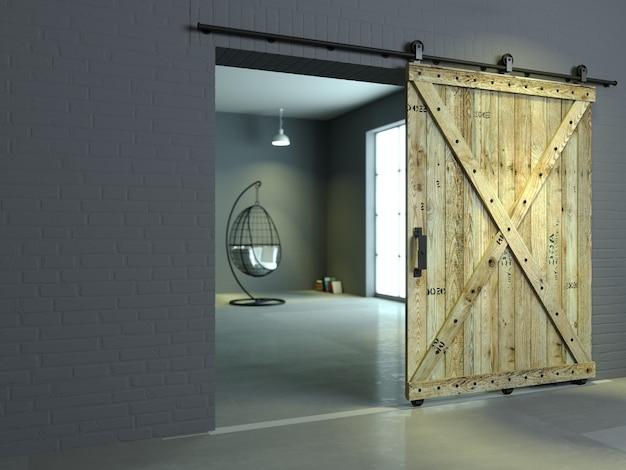 Interni moderni in stile loft fienile porta scorrevole in legno in camera soppalcata