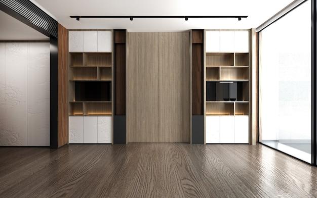 Gli interni moderni deridono l'arredamento di mobili di design e la parete in legno vuota del soggiorno e la sala studio e il fondo del modello della parete, rendering 3d