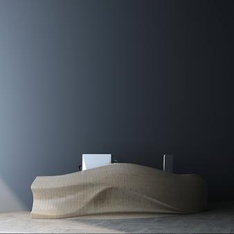 Spazio interno moderno del salone di ricevimento mock-up, arredamento bancone in legno nel soggiorno blu, rendering 3d