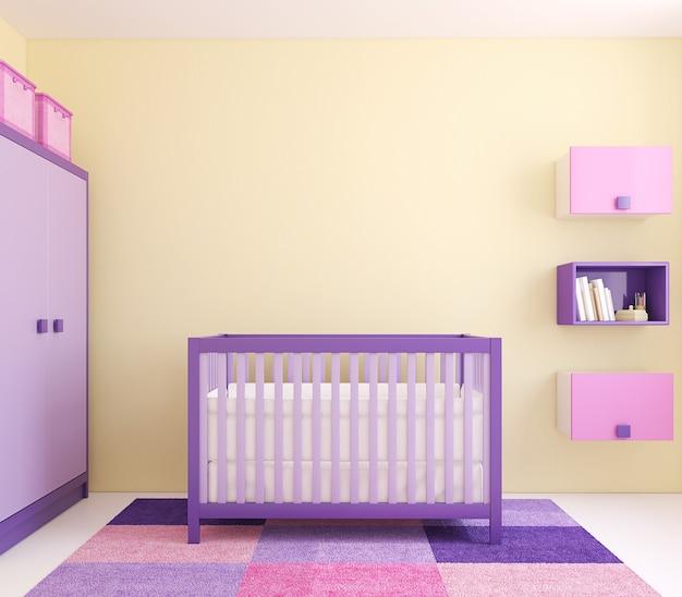 Interni moderni della scuola materna con presepe vicino al muro giallo. vista frontale. rendering 3d.