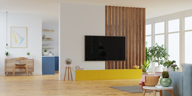 Moderna sala interna con mobili, sala tv. rendering 3d