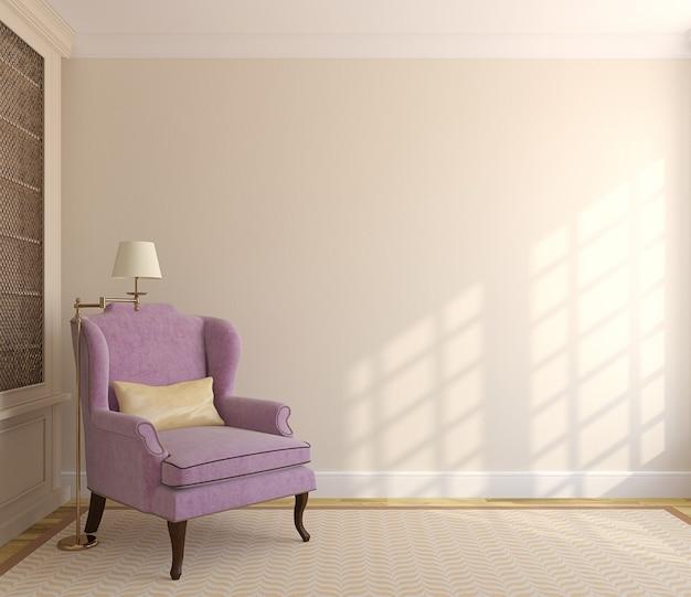 Interni moderni con libreria e poltrona vicino al muro vuoto beige. 3d render.