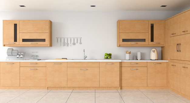 Controsoffitto della cucina moderna e lavello per il mockup
