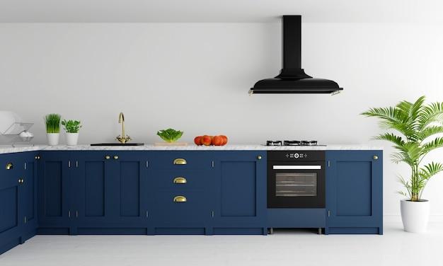 Piano di lavoro cucina moderna con fornello a gas e lavello