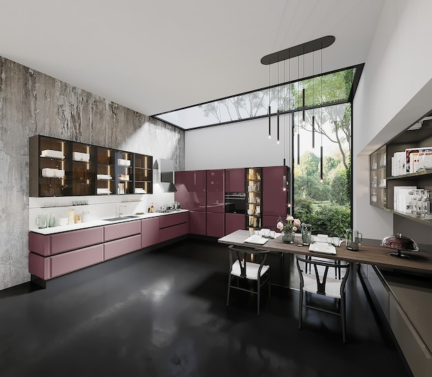Cucina dal design moderno con armadio da cucina rosa, tavolo e sedia