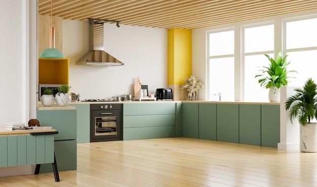 Interiore della cucina moderna con mobili. elegante cucina interna con muro bianco. rendering 3d