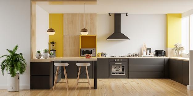 Interiore della cucina moderna con mobili interiore della cucina elegante con parete gialla rendering 3d