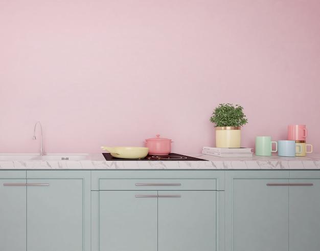 Interiore della cucina moderna con colori pastello
