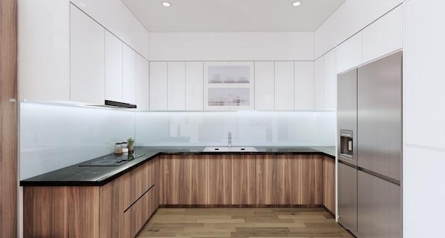 Interiore della cucina moderna con l'illustrazione 3d del nero del granito del tavolo superiore dell'armadio in legno