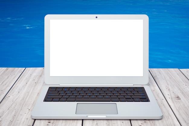 Computer portatile moderno davanti al primo piano estremo dell'oceano. rendering 3d