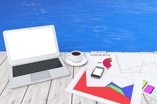 Computer portatile moderno con tazza di caffè e grafico commerciale davanti al primo piano estremo dell'oceano. rendering 3d