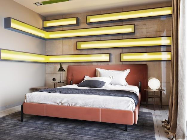 Letto moderno in pelle con comodini con lampade nella camera da letto contemporanea. mensole illuminate, boiserie lucide, testiera in pelle. rendering 3d