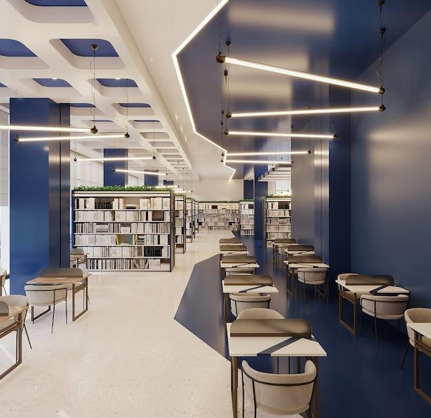 Libreria dal design moderno con parete blu, sedia e scrivania