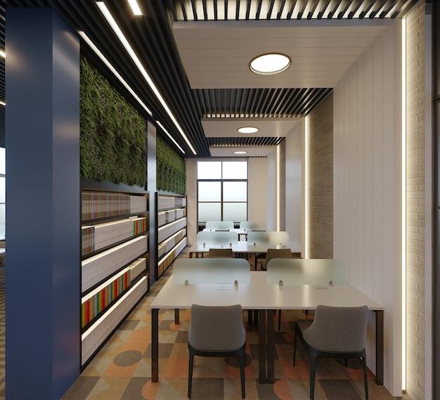 Libreria moderna con design a soffitto e mobili, rendering 3d