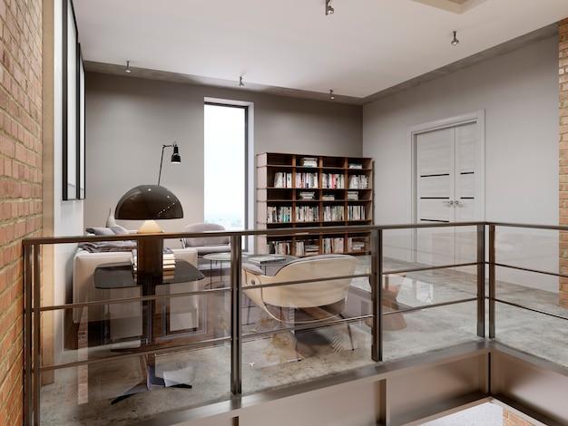 Soggiorno e libreria moderni, mobili libreria con libri. rendering 3d