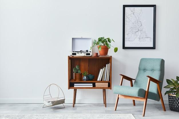 Composizione moderna del soggiorno con mobili di design mock up modello di cornici e accessori per poster