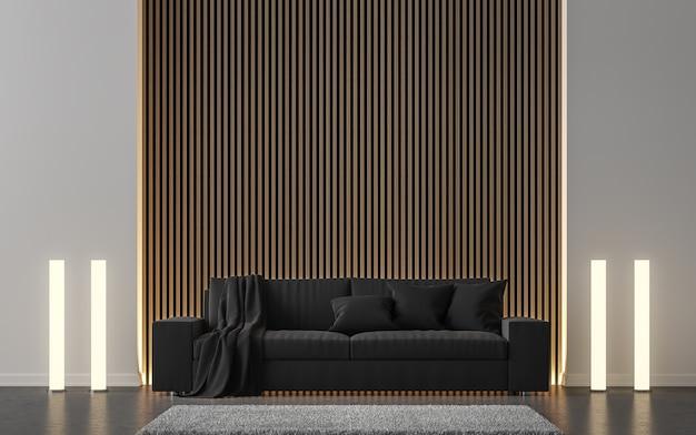 Il soggiorno moderno decora la parete con il rendering 3d del reticolo di legno ci sono divani neripavimento in cemento